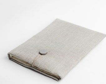 New Macbook Pro 13 inch sleeve, natural linen, minimal, available with a pocket