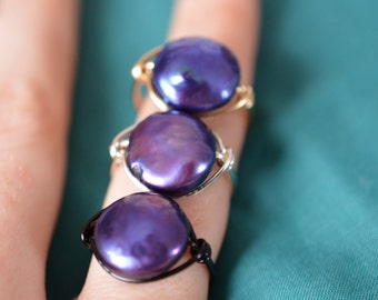 Midnight Pearl Ring - Wire Wrapped Coin Pearl - Blue Purple Green Iridescent - Made to Order