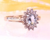 Vintage Aquamarine and Diamond Ring in 14K Yellow/ White Gold