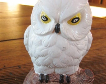 "Ceramic ""Be Wise Save"" Snowy Owl Coin Bank 1960s Belfast Maine"