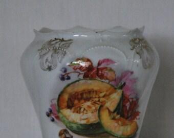 Vintage Porcelain Canister Melon Decal