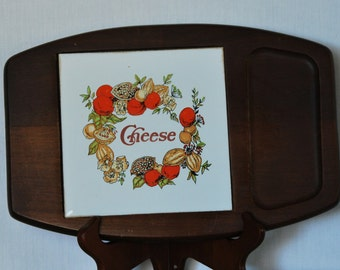 Vintage Cheese Tile and Wood Tray Made in Taiwan