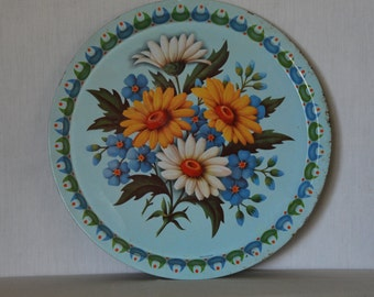 Vintage Shabby Daisy Large Serving Tray Made in England
