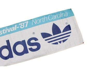 1987 Adidas Olympic Banner / Vintage Adidas Sign / Olympic Festival North Carolina / Soccer Field Sports Banner / Soccer Decor Soccer Sign