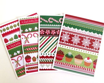 Holiday Card Set - Merry Christmas Card Set - Blank Holiday Cards - Handmade Christmas Cards - Candy Cane Cards - Fun Winter Note Cards