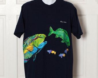 Big Colorful Fish Tshirt - Xcaret Mexico - L