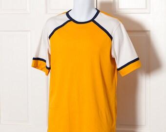 70s Vintage Yellow White Navy Shirt - KINGS ROAD Sears - L