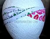Kiss Me I'm Irish Headband - Valentine's Day Reversible Headband - Elastic Band - Holiday - Teacher Gift - Lips - OOAK - Ready to Ship