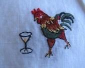 """Embroidered Rooster Drink Napkins, Set of TEN, White Embroidered Napkins, 51/4"""" x 7"""" Drink Napkins, Small Napkins, Bar Decor MyVintageTable"""