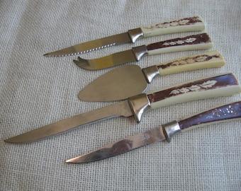 Vintage Regent Sheffield, Stainless Steel Knives, Serving Pieces, Set of FOUR, Sheffield Knife Set, Made in England, Vintage Kitchen, Leaf