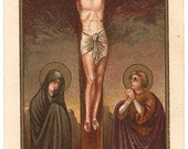 Jesus Christ Crucifixion Scene Antique French Holy Prayer Card, Christian Catholic from Vintage Paper Attic