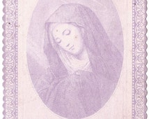 Antique French Holy Prayer Card Mater Dolorosa Sorrowful Mother Virgin Mary Lavender Ink Catholic from Vintage Paper Attic