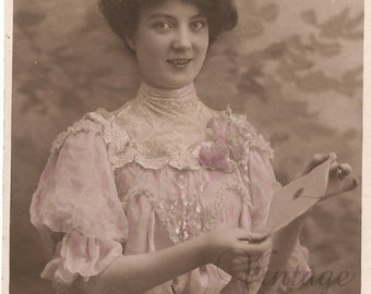 Antique French Tinted Photo Postcard Pretty Edwardian Woman in Pink Dress RPPC Post Card from Vintage Paper Attic