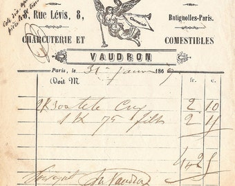 1869 Antique French Invoice Document with Angel Graphics Engravings from Vintage Paper Attic