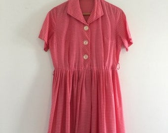 Vintage 50's Pink Gingham Day Dress / Check Print Full Skirt Dress M L