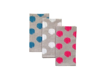 Ikat spot natural linen napkins in neon pink, white or sky blue (set of 4)