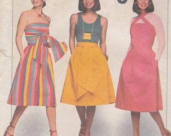 1977 Versatile Wrap Skirt or Dress Vintage Pattern, Simplicity 8012, Strapless Sundress, Cross Strap Sundress, Skirt Sash, Easy Jiffy Beach