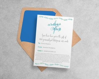 LAST MINUTE GIFT - Gift Certificate for Personalized Letterpress Stationery