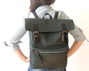 "Leather Backpack in Dark Green - 15"" Laptop - Black Leather Straps - Adjustable Detachable Leather Straps - Zippered Pocket"