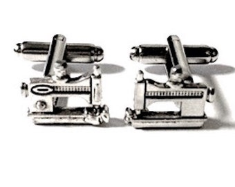 SALE Silver Sewing Machine Cufflinks, Men's Handcrafted Clothing Designer Tailor Cuff Links- Guys Gift Prom Groom