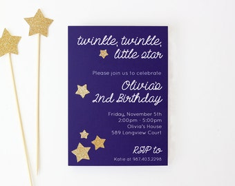 Twinkle Little Star Invitation First Birthday Party Invites Gold Glitter Star Party Supplies Baby Shower Invitations 2nd 1st Birthday Invite