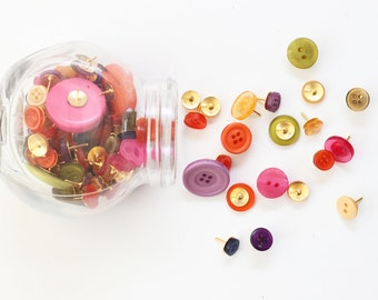 Button Thumb Tacks Push Pins Colorful Button Thumbtacks Memo Bulletin Board Assorted Colors Girls Office Supplies Button Tacks Dorm Room