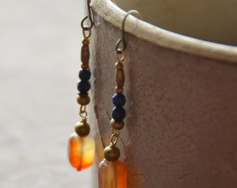 Carnelian and Lapis gypsy boho earrings
