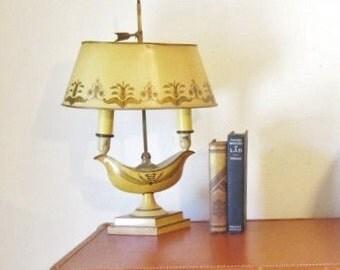 Vintage French Lamp Desk Lamp Bankers Lamp Neoclassic Lighting  Mustard Toile Lamp Lighting Table Dresser Vintage Lighting Library Study