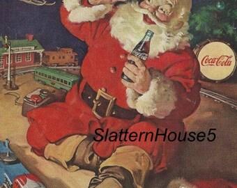 1960 Christmas Coke Advertisement Colored Ad Digital Download PDF Print  Santa Christmas Tree Toys Print Coke Christmas Home Decor Framable