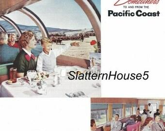 1950 Union Pacific Coast Railroad Ad Print Chicago West Coast Travel Ad Retro Colored Domeliner Train Home Decor Personalized Prints Crafts