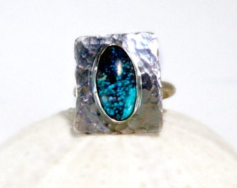 Genuine Turquoise & Sterling Silver Ring, 12 x 8 mm oval , 15 x 20 base, hammered texture, December Birthstone, modern, patina available