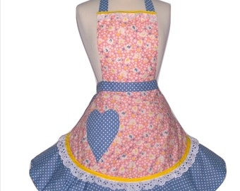 CLEARANCE - Pink and Blue Womens Ruffled Apron