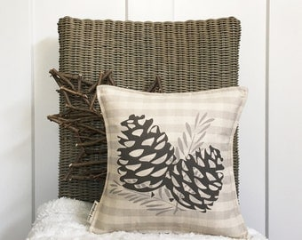 """12"""" Pinecone Pillow - Fall Entryway Decor - Autumn Pillow - Gingham Pillow - Cotton Canvas - Loop and Toggle Closure - Insert Included"""