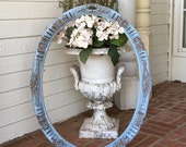 """PICTURE FRAME Shabby Antique Painted French Blue Holds 18"""" X 25"""" Ornate Oval"""