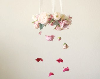 Ombre Flower Chandelier created with ivory, blush pink, lavender and mauve florals to create this pretty flower mobile.