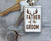 Father of the Groom Gift, Hunting Wedding Dad Deer Antler Keychain, Dad Keychain, Wedding Favors, Wedding Gift for Parents, Rustic wedding