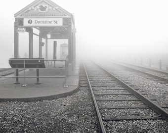 Dumaine Street Car Stop- BW Photography- Matted Photo