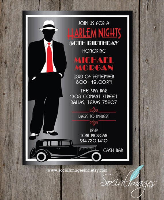Harlem Nights Birthday Party Invitation Digital File