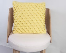 Cotton Cushion Pillow Cover Waffle Knit Knitted Cushion Knitted Yellow Knitted Pillow Cotton Cushion Yellow Cushion Yellow Knit Blue Cushion