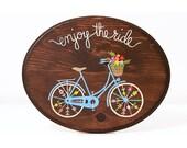 Enjoy the ride art, bike wood sign, bicycle painting, wood wall art, bike art on wood, nursery wall art, colorful bicycle art