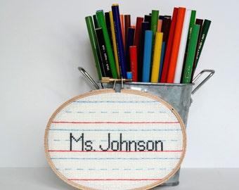 Personalized Teacher Nameplate | Modern cross stitch