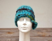 winter hat retro cloche soft wool hand knit brown blue felt decoration, ooak woman beanie, unique art to wear fashion design eco organic 117
