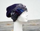 Slouchy hat hand knitted shiny yarn soft warm  violet grey ooak, unique fashion design, felt stripes applique, winter beanie, chunky 96