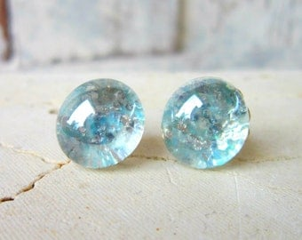 Aqua Glitter Stud Earrings. Light Teal Aqua Post Earrings. Glitter Button Earrings. Glitter Jewelry. Silver Stud Earrings. Aqua Jewelry