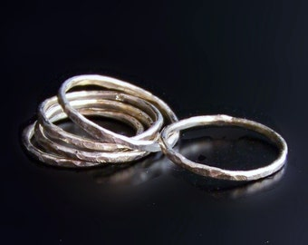 Sterling Silver Stacking Rings - Set of Five - Hand Hammered Artisan Bands