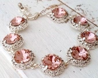 Blush bracelet,blush pink crystal bracelet,Blush pink bridal bracelet,Blush pink bridesmaid,Swarovski bracelet,wedding jewlery,silver