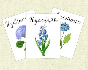 BLUE Flower Table Cards, Table Numbers, Table Tents, Wedding Table Cards, Botanical Table Cards