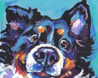 Bernese Mountain Dog print of modern pop art painting bright colorful portrait 13x19 berner