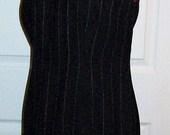 Vintage Ladies Black Wool Pin Stripe Dress by Amanda Smith Size 2 PETITE Only 6 USD