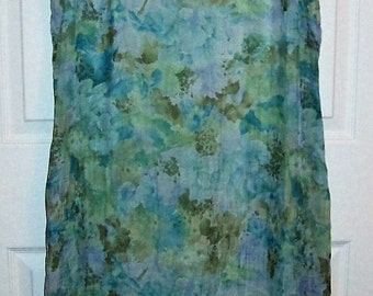 Vintage Ladies Blue Floral Sleeveless Dress by Miss Dorby Size 14 Only 11 USD